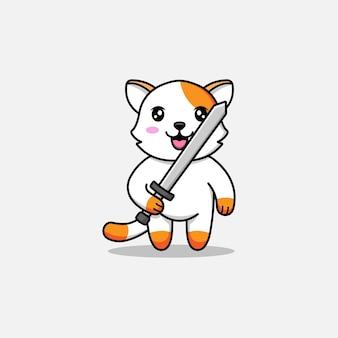Chat mignon portant une épée