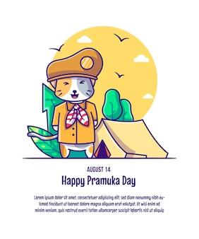 Chat mignon portant des illustrations vectorielles de dessin animé de costume de pramuka. concept d'icône jour pramuka isolé vecteur premium