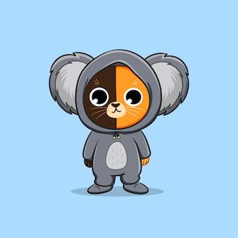 Chat mignon portant koala costume dessin animé vecteur icône illustration