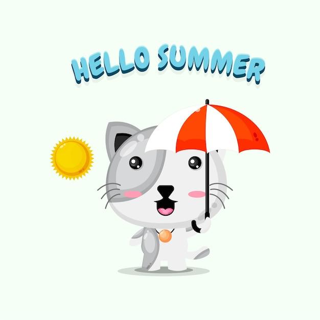 Chat mignon portant un parapluie avec des salutations d'été