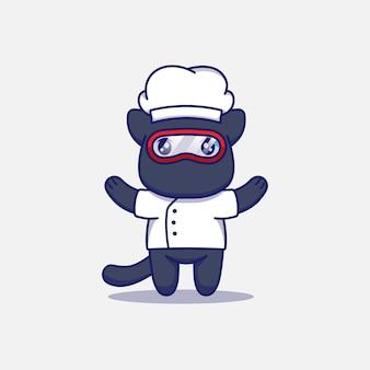 Chat mignon portant l'uniforme de chef