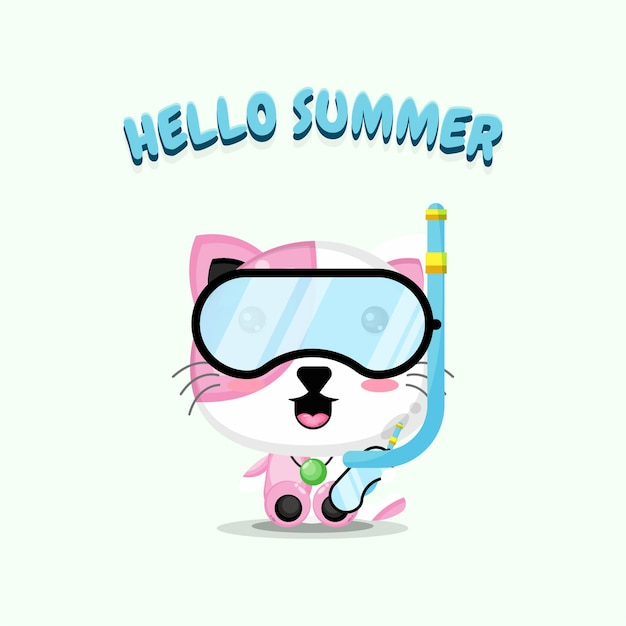 Chat mignon portant des vêtements de plongée avec des salutations d'été