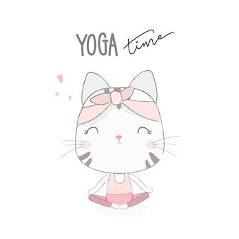 Chat mignon avec poste de yoga