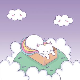 Chat mignon avec queue arc-en-ciel dans une boîte en carton personnage kawaii