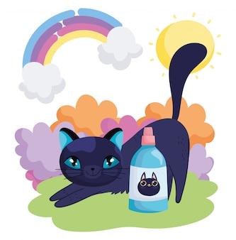 Chat mignon qui s'étend de dessin animé avec des animaux de compagnie d'arc-en-ciel de bouteille de vétérinaire