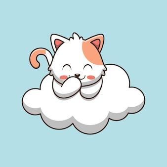 Chat mignon riant sur l'illustration de dessin animé de nuage