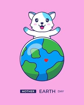 Chat mignon avec salutation de jour de la terre mère