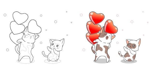 Chat mignon soulève la page de coloriage de dessin animé de coeurs