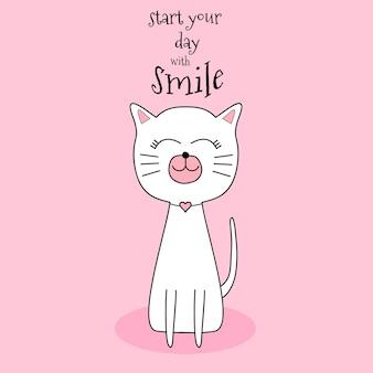Chat mignon souriant style dessiné à la main