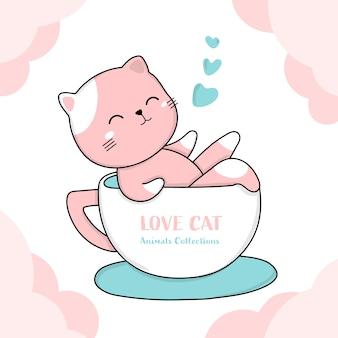 Chat mignon avec un style de tasse de café dessiné par des animaux