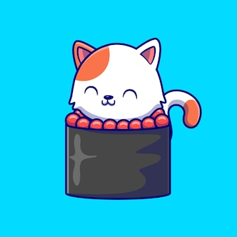 Chat mignon sushi cartoon vector icon illustration