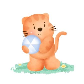 Chat mignon tenant une balle dans un style aquarelle.