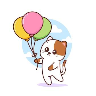 Chat mignon tenant des ballons colorés
