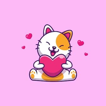 Chat mignon tenant coeur d'amour