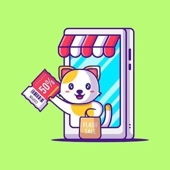 Chat mignon tenant le coupon de réduction dans l'illustration de dessin animé de smartphone. animal et vente flash flat cartoon style concept