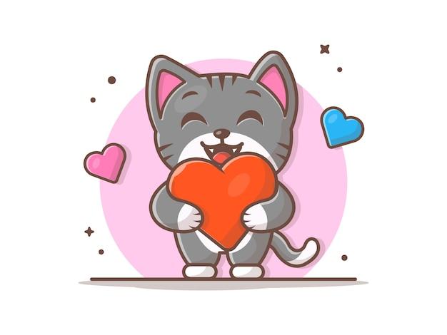 Chat mignon tenant une grande illustration d'amour
