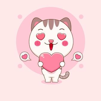 Chat mignon tenant illustration de dessin animé d'amour