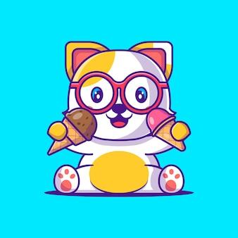 Chat mignon tenant l'illustration de dessin animé de crème glacée. concept de style de dessin animé plat animal