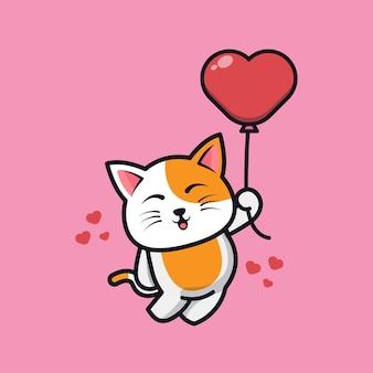Chat mignon tenant illustration d'icône de dessin animé ballon amour
