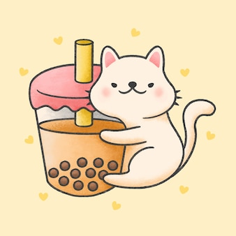 Chat mignon thé câlin bulle lait thé boisson fraîche cartoon style dessiné à la main