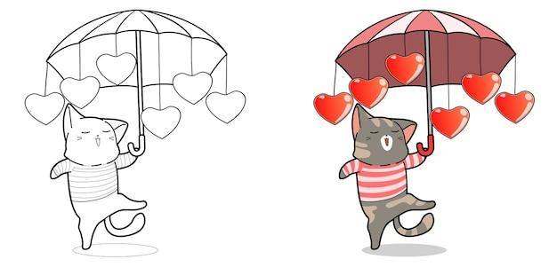 Chat mignon tient la page de coloriage de dessin animé de parapluie