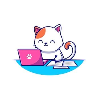 Chat mignon travaillant sur ordinateur portable et écrit sur papier dessin animé icône illustration