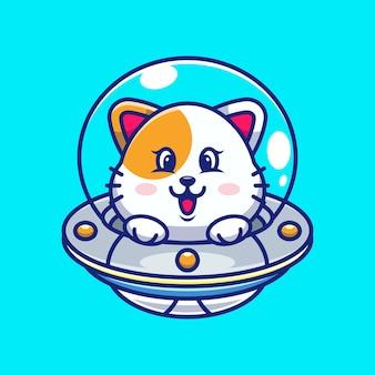 Chat mignon volant avec dessin animé ovni de vaisseau spatial
