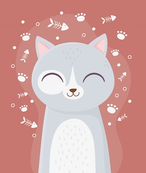 Chat mignon avec les yeux fermés animal de compagnie arête de poisson patte décoration dessin animé illustration