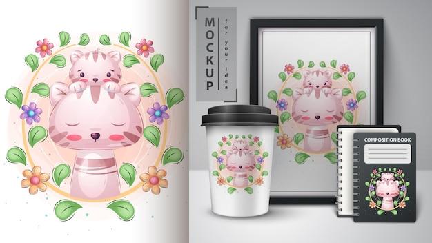 Chat avec minou - affiche et merchandising. vecteur eps 10