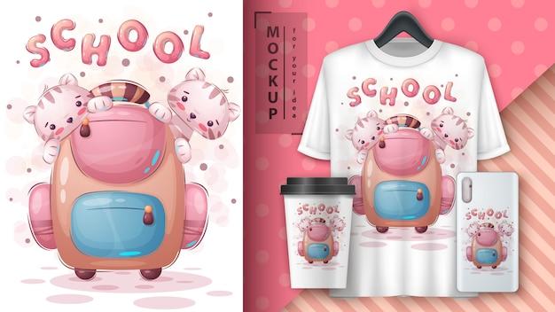 Chat, minou avec affiche de sac d'école et merchandising.