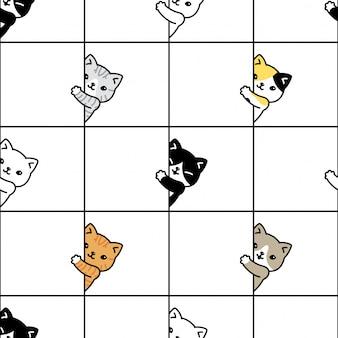 Chat modèle sans couture chaton calicot dessin animé