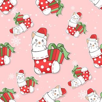 Chat de modèle sans couture dans la chaussette avec la bande dessinée de cadeau