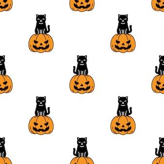 Chat Modèle Sans Couture Halloween Citrouille Chaton Dessin Animé Vecteur Premium