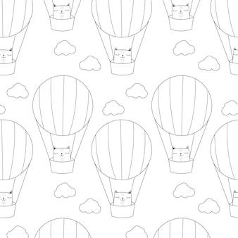 Chat avec motif de montgolfière