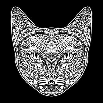 Chat avec motif ornemental mandala paisley