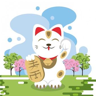 Chat neko dans la nature