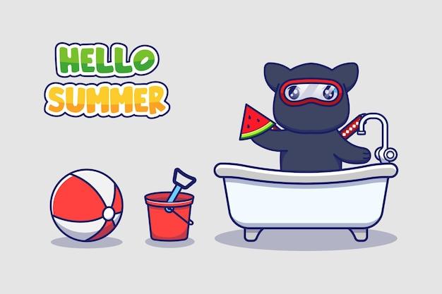 Chat ninja mignon avec bannière de voeux d'été bonjour