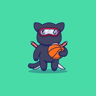 Chat ninja mignon avec basket-ball