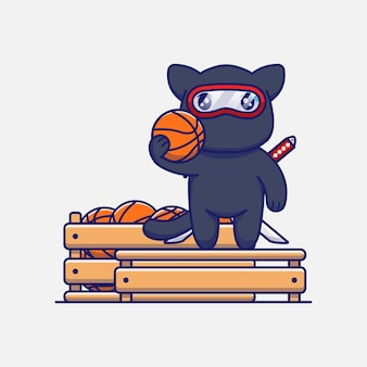 Chat ninja mignon avec une boîte pleine de balles de basket