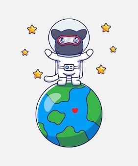 Chat ninja mignon portant un costume d'astronaute sur la planète terre