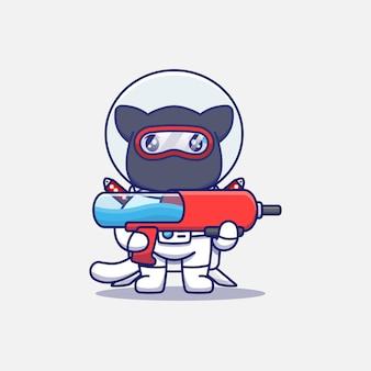 Chat ninja mignon portant un costume d'astronaute portant une arme à feu