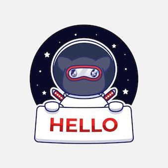 Chat ninja mignon portant un costume d'astronaute portant une bannière de bonjour