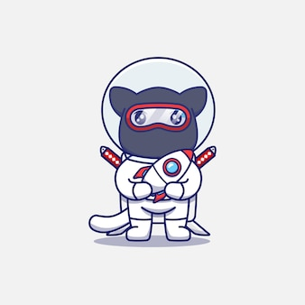 Chat ninja mignon portant un costume d'astronaute portant une miniature de fusée