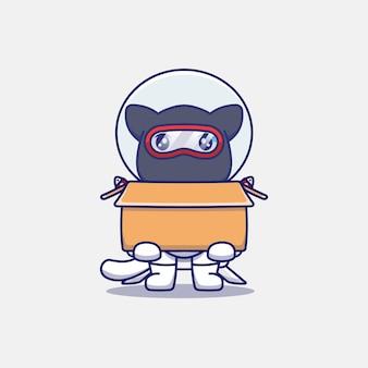 Chat ninja mignon portant un costume d'astronaute transportant du carton