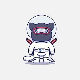 Chat ninja mignon portant un costume d'astronaute