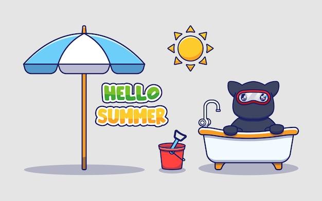 Chat ninja mignon avec salutation d'été bonjour