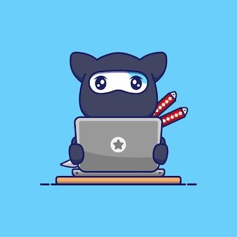 Chat ninja mignon avec son ordinateur portable