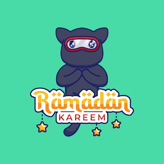 Chat ninja mignon avec voeux de ramadan kareem