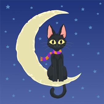 Chat noir assis sur la lune