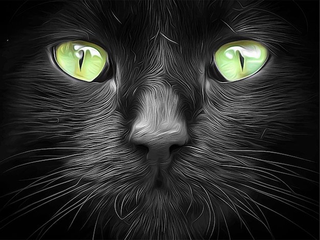 Chat noir aux yeux vert lime vector illustration